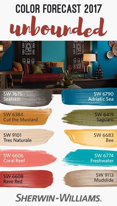 Earthy mustards, ocean blues, corals and mud: these are the colors behind the unbounded palette, one of four from our 2017 Color Forecast. This versatile collection of colors redefines boundaries to bring together global influences in a diverse palette. Front Door Colors, Wall Colors, House Colors, Colours, Soft Colors, Interior Paint Colors, Paint Colors For Home, Ocean Blue Paint Colors, Orange Paint Colors