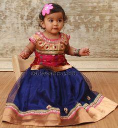 Cutie in Blue Netted Kids Lehenga - Indian Dresses