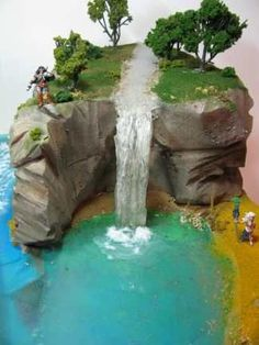 tutorial: realistic flowing water from caulk and a reused plastic bottle From Diorama Man Gnome Garden, Garden Pond, Fairies Garden, Christmas Villages, Fairy Land, Fairy Houses, Doll Houses, Miniture Things, Small World
