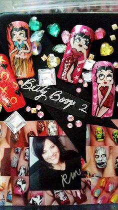 One of a Kind Betty Boop Nail Art by Robin by robinmosesnailart, $120.00