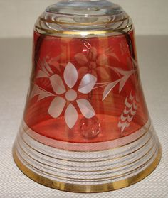 Beautiful Crystal Bell w/Etched Flowers in Ruby Flash Design