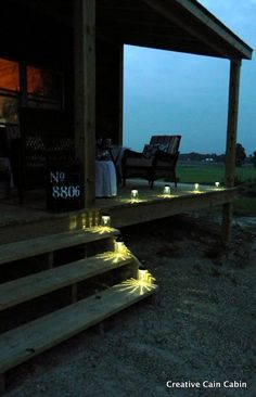 Creative Cain Cabin: DIY Solar Lamp  SOLAR LIGHTS  Small mouth mason jars  Solar garden lights from Target or Walmart  Hot glue gun    Remove stem of light, but you can also remove the clear plastic base that the solar light attaches to.  Run a bead of hot glue around the rim of the jar  and...  place the light on top.  This is a much safer way to illuminate an outdoor area rather than candles.