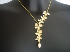 Flower necklace orchid necklace  Asymmetrical necklace by odalisca, $25.50