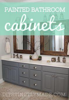 DIY Painted Bathroom Cabinets   Mark Twain House Ombre Gray   DIYstinctlyMade.com