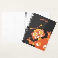 Kids Orange Robot Personalized Cool Modern Boys Planner - trendy gifts cool gift ideas customize