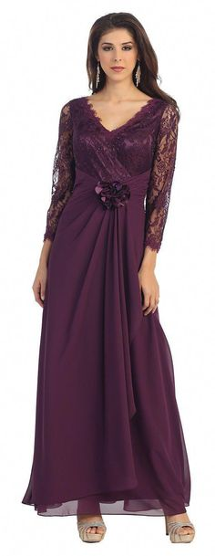 e48e133d5f8 Long Sleeve V Neck Lace Floor Length Mother Of Bride Ruffles Plus Size  Formal - The Dress Outlet - 5