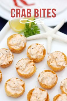 Delicious Crab Bite Appetizer Recipe, perfect for a beach or Nautical themed party :). Perfect for any party or just for a treat! Beach Appetizers, Finger Food Appetizers, Yummy Appetizers, Appetizers For Party, Appetizer Recipes, Tailgate Appetizers, Crab Appetizer, Tapas, Seafood Recipes