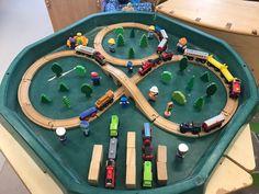 Eyfs train themed small world tuff spot. Eyfs Activities, Activities For 2 Year Olds, Train Activities, Infant Activities, Train Truck, Train Rides, Preschool Crafts, Crafts For Kids, Eyfs Classroom