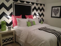 No to the walls lol--but love the bedding..maybe the rug could be chevron