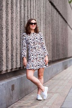 Fern Ross, Chief Sub-Editor/Production Editor & Other Stories leopard print dress, Superga trainers, Asos sunglasses, Monica Vinader necklace.  What ELLE Wears to Work, London Street Style 2015.