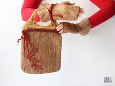 Beige and red Small felted bag Chic felted purse Cinnamon
