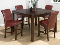 Carlsbad Cherry Finished Square 5 Piece Dining Set W/ Red Leather Stools By  Jofran