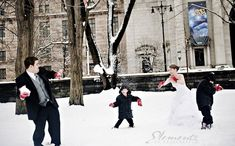 Oh my gosh. I love this. A snowball fight on your wedding day would be awesome.