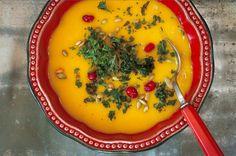 Bourbon Apple Butternut Squash Soup With Roasted Kale Recipe