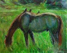 "For Sale: HORSE RANCH by Deborah Rader | $300 | 20""w 16""h | Original Art | https://www.vangoart.co/deborah-rader/horse-ranch @VangoArt"