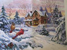 Winterlandschaft Weihnachten Christmas counted cross-stitch