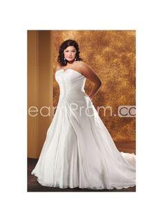 +Elegant+Strapless+A-line/Princess+Ruched+Chapel+Organza+Plus+Size+Wedding+Dress+WP-0025