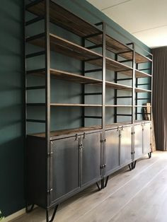WeinbergWoodworks - home Metal Furniture, Unique Furniture, Industrial Furniture, Home Furniture, Furniture Design, Metal Bookcase, Bookcase Shelves, Shelving, Industrial Living