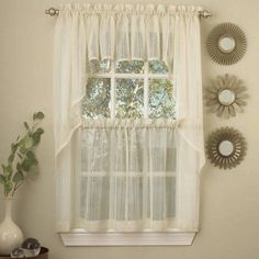 Gypsy Crushed Voile Ruffle Kitchen Window Curtain 24 inch, 36 inch Kitchen Curtains, Set of 2 or 12 inch Valance, Blue