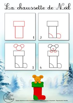 to learn draw - Results Yahoo France search images - drawing Christmas Doodles, Christmas Drawing, Christmas Crafts, Art Drawings For Kids, Easy Drawings, Art For Kids, Drawing School, Theme Noel, Drawing Lessons