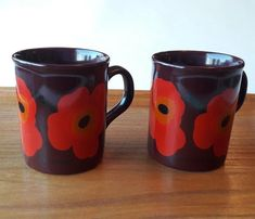 Set of 2 Marimekko Vintage Mugs Poppy Made in England Orange Poppy, Marimekko, Flower Patterns, Poppies, England, Mugs, Tableware, How To Make, Ebay