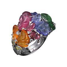 High Jewelry ring Platinum, mandarin garnets, pink tourmalines, tanzanites, tsavorite garnets, yellow diamonds, brilliants.