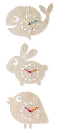 Fun Animal wooden clocks//
