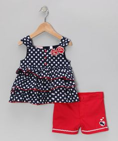 Take a look at this Blue Polka Dot Top & Red Shorts - Infant, Toddler & Girls by Kids Headquarters on #zulily today!