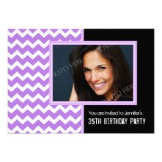 Gather guests with amazing birthday invitations from Zazzle! Birthday party invitations in a range of themes! 35th Birthday, Birthday Woman, 30th Birthday Ideas For Women, Chevron Birthday, Birthday Party Invitations, Purple And Black, 35th Anniversary, Birthday Invitations