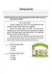 English worksheet: noting details | Worksheets, Vocabulary ...
