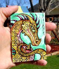 Luree art Original Fantasy Medieval DAZZLE DRAGON painting ACEO ooak COOL atc