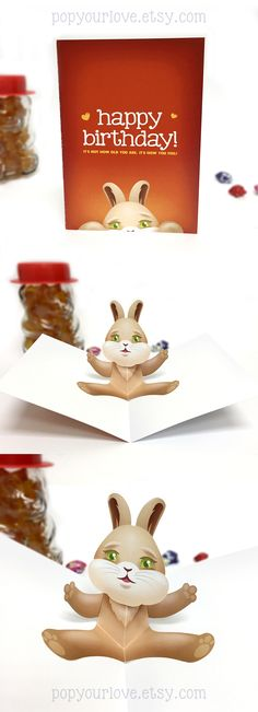Cute birthday bunny rabbit popup card! Surprise friends and family with this special and adorable card! #etsy #birthday
