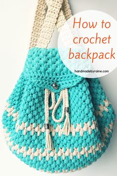 Free written pattern and video tutorial! Free written pattern and video tutorial! Crochet Backpack Pattern, Free Crochet Bag, Crochet Shell Stitch, Bag Pattern Free, Crochet Tote, Crochet Handbags, Crochet Purses, Crochet Scarves, Diy Crochet