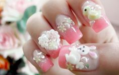 in this post we can look Nail Art that very cute and this nail art has various models and color design. let's see look Nail Art Design p. Easter Nail Designs, Easter Nail Art, Christmas Nail Art Designs, Cute Nail Designs, Christmas Nails, Paint Designs, 3d Nail Art, Funky Nail Art, Cute Nail Art