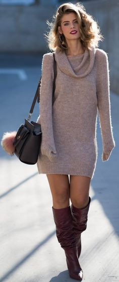 #fall #fashionistas #outfits | Sweater Dress + Boots