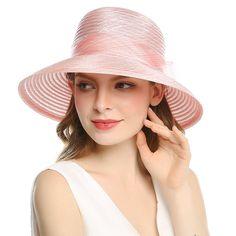 4de0b1d9 Women's Organza Wide Brim Bowknot Ponytail Kentucky Derby Church Dress Sun  Hat - Pink - CT1807MT965