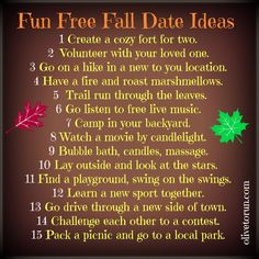 Free fall date ideas. Some of these are for a married couple, but that's alright :)