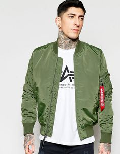 Image 1 of Alpha Industries MA1 Bomber Jacket Slim Fit in Green