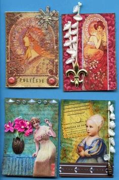Artist cards. Get fun and creative with individual cards. No need to go crazy on every card in your book, but it's nice to let yourself experiment once in a while. Also, search artist cards on the www for ideas.