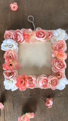 Crafts for kids · diy floral frame flower frame, flower mirror, diy flower, baby shower girl centerpieces Diy And Crafts Sewing, Arts And Crafts, Deco Floral, Craft Wedding, Diy Crafts Videos, Diy Videos, Diy Frame, Crafts For Teens, Paper Flowers