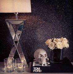 Bedside Table. This bedazzled skull only something else because I hate skulls. #nightstand Analiee Banks