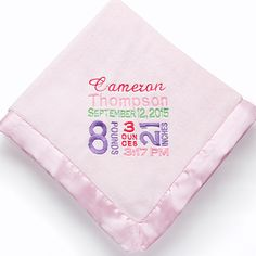 12197 - Birth Announcement Embroidered Baby Blanket