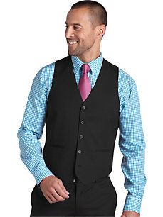 Sweaters & Vests - Egara Charcoal Stripe Wool Slim Fit Tailored Suit Separates Vest - Mens Wearhouse
