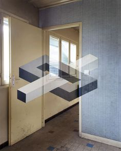 Illusions in Neglected Rooms - Anamorphic geometric art by Fanette G