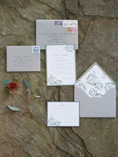 gray #invitations | Photography: Abby Jiu  Read more - http://www.stylemepretty.com/2014/01/17/intimate-goodstone-inn-wedding/
