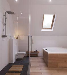 Bagno nordico elegante e luminoso con vasca idromassaggio e box doccia in vetro