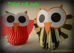 Tutorial for little owls made from toilet paper roll & cupcake liners. Idea from Family Fun Magazine. {Greek Momma} #owl #kids #Fall #Halloween