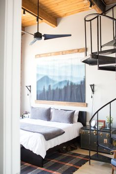 Shop MALM Bed frame, high - Queen, Luröy - IKEA, Similar: Cable-Knit Pillow, Italian Vintage-Washed 464 Percale Duvet Cover, Similar: Black Rolling Footlocker with Tray, Similar: Wayfair Dryden Area Rug, Similar: EKBY VALTER Bracket - black, Similar: SEKOND Cord set - IKEA, Tapestry, Mountains, Wall Hanging,, Similar: CANARM 56 in. Black Industrial Ceiling Fan with 3 Blades- The Home Depot, MALM 2-drawer chest - brown stained ash veneer, 15 3/4x21 5/8, Similar: Cabled Cashmere Throw Blanket…