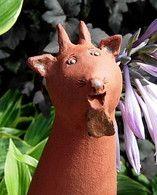 Keramikfigur 'Ziege' als Zaunhocker, Gartenstecker oder Insektenhotel verwendbar.