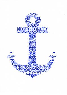 [ i adore all of the artwork on society 6, especially anchors!!! ] Tribal Anchor Art Print. Maybe a cool tattoo